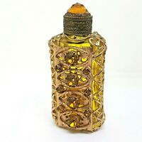 Vintage Jeweled Perfume Bottle Gold Toned filigree Amber color glass