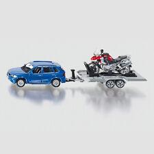 SIKU Spielzeug Spielzeugauto Modell PKW Auto mit Anhänger und Motorrad / 2547