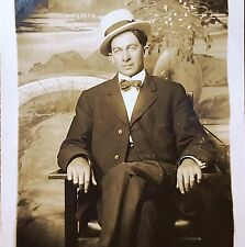 """Antique 1911 """"After ALL NIGHT on FRISCO LINE"""" Photo Postcard ST. LOUIS RPPC Suit"""