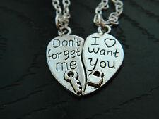 Funky Couple/Best Friend Heart Pendant Charm Necklace.Kitsch.Valentine.silver