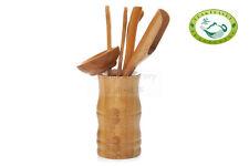 Chinese Bamboo Big Basket Gongfu Tea Utensil Set 6PCS