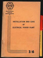 RARE Electrician INSTALLATION & CARE ELEC POWER PLANT