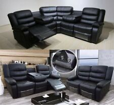 Valencia 3 + 2 Seater Sofa Leather Recliner Collection Set Black Drinks Holder