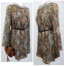 Glamorous Midi Dress Long Sleeve Paisley Vintage Style Zipped Back Size UK 10
