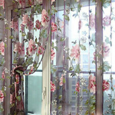 Floral Tulle Window Curtain Panel Sheer Voile Door Room Drape Scarf Valances BN