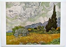 Van Gogh Poster Reprint Wheatfield with Cypresses Offset Lithograph  16x11