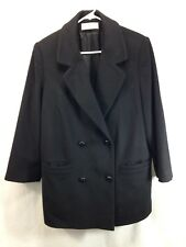 VTG Forecaster Of Boston Pea Coat Jacket Women 10 Black Wool Double Breasted USA