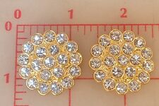 "2 vintage gold metal Czech shank buttons covered w/ clear rhinestones 1.25"" 1004"