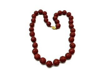 Vintage Carved Cinnabar- Beaded Necklace .95mm~Hand Knotted Red~Red & Silver