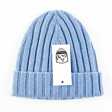 Men's COUNTRY CLUB Italy Sky Blue Cashmere Knit Beanie Hat Cap S/M $195!