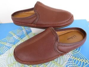 L.L. Bean 272349 ~Brown Elkhide Leather Mules Mens House Very Comfy Slippers~ 8M
