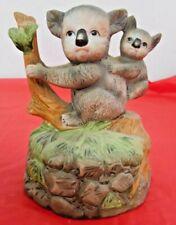 Ceramic Koala Mom with Baby on Tree Figurine Musical Guc