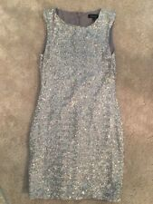 TOPSHOP MINI SEQUINNED DRESS SIZE 10 silver sparkly