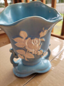 Light Blue Vase Vintage Art Deco Weller Pottery with beautiful white rose