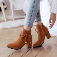 Womens Ladies Suede Ankle Boots Zipper Round Toe Shoes High Block Heel Booties