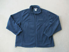 Columbia Jacket Adult Extra Large Blue Gray Full Zip Fleece Outdoors Coat Mens