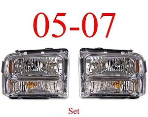 05 07 Super Duty Chrome Head Light Set, Assembly, Ford F250 F350 Excursion