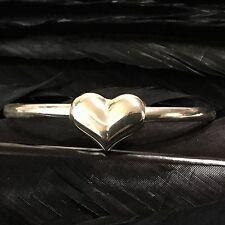 Heart Flexible Bangle Bracelet 6 3/4 Sweet Adorable Estate Sterling Silver 3D