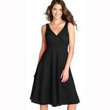 Gorgeous V-Neckline Beaded Chiffon Cocktail Party Evening Dress Black