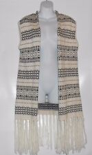 L.O.G.G. H&M Ladies Wool Blend Long Fringed Jacquard Knit Vest Natural White M