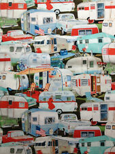 """Vintage Retro 50's trailers campers all over trucks cars Valance 13""""x42"""" Cotton"""