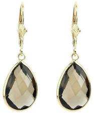 Pear Shaped Smoky Topaz Dangling Earrings New listing 14k Yellow Gold Fancy Cut