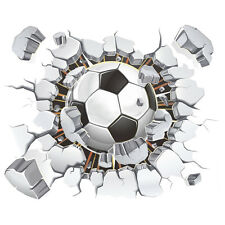 3D Football Wall Sticker PVC Art Soccer Crack Decal Boys Room Mural Decor K5I5