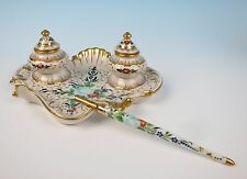 Vintage Old Paris Style French Porcelain Double Inkwell Pen HP Shell Rococo Gold