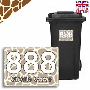 A5 [4 X Pack] - GIRAFFE Personalised Wheelie Bin Sticker / Vinyl Labels with ...