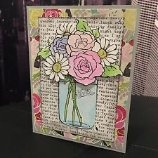"""DIY Stampendous """"Hello"""" Flower Bouquet Everyday Note Handmade Card Kit- 4 cards"""