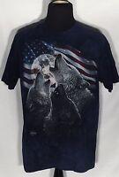 Wolves Moon USA American Flag 2014 Collin Bogle Large L Blue Tie-Dye T-shirt