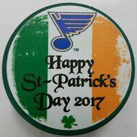 2017 ST. LOUIS BLUES HAPPY ST. PATRICK'S DAY GREEN PUCK INGLASCO SLOVAKIA NHL