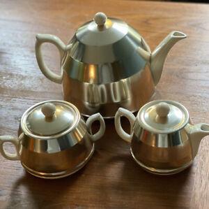 Vintage Sadler Ceramic Tea Set with Aluminum Beehive Cozy Cover | Art Deco Retro