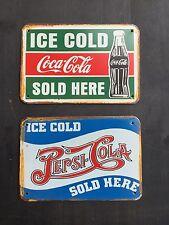 Pepsi ~ Coca Cola Vintage Style METAL SIGN Garage Wall Decor 16x12Cm Set Of 2