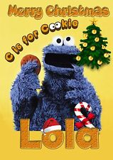 COOKIE MONSTER Personalised Christmas Card! FREE 1st Class Shipping! CHRLAS16