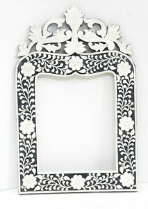 Handmade Bone Inlay Mirror Fame Camel Bone Wood Embossed Flower Design Gifts