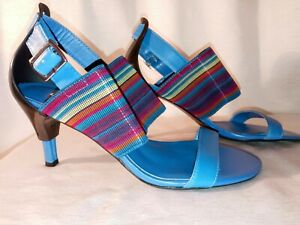 United Nude Womens Shoes Textile Multicolor Stripe Heels Size 7.5 HIGH FASHION