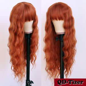 Orange Synthetic Hair None Lace Wigs Heat Resistant Loose Wavy Full Bangs Party