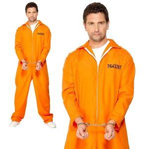 Prisoner Costume Inmate Jumpsuit Death Row Adult Mens Fancy Dress Costume New