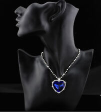 Titanic Heart Of The Ocean Sapphire Blue CZ Crystal Necklace Pendant Mother Gift