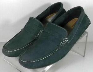251789 DF50 Men's Shoes Size 8 M Navy Leather Driving Shoes Johnston & Murphy