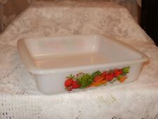 "Glasbake #2428 Vintage 8"" Square Baker Vegetable Medley       (#976)"