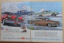 1958 two page magazine ad for Ford Motor Co. - Edsel, Fairlane, Mercury, Lincoln