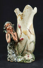 Art Pottery Butterfly Tulip Trumpet Vase with Kneeling Girl Bronze/Green Patina