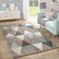 Pastel Colour Rug Diamond Pattern Living Room Carpet Beige Blue and Brown Large
