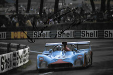 Bell/Ganley/Schuppan signé 12x8 Gulf Racing MIRAGE M6, Le Mans 24hrs 1973