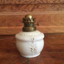 Antique Miniature Milk Glass Oil Lamp