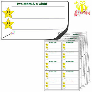 200 LARGE Two 2 Stars and a Wish Stickers 99x57mm.Premium Self Adhesive Labels