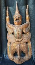 OLD HEAVY  SOLID GILDED HINDU WOOD CARVING  GARUDA BALI BALINESE INDONESIA
