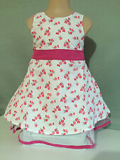 BNWT Girls Sz 4 Net Underlay Pink & White Flowers Print Fully Lined Party Dress